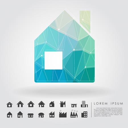 simplus: s�mbolo de la casa del pol�gono con el icono de la construcci�n