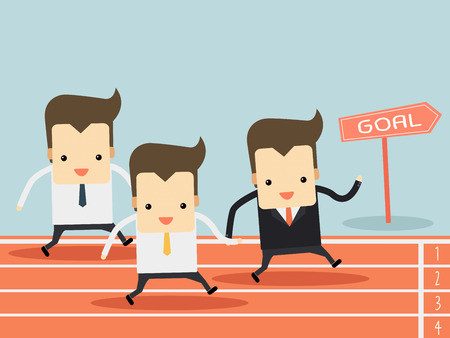 businessman running on track Vector