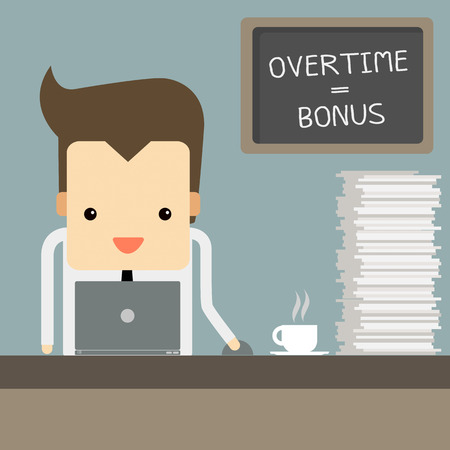 businessman hard working overtime Vector