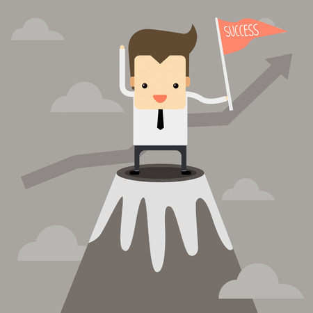 Businessman on the top position Illustration