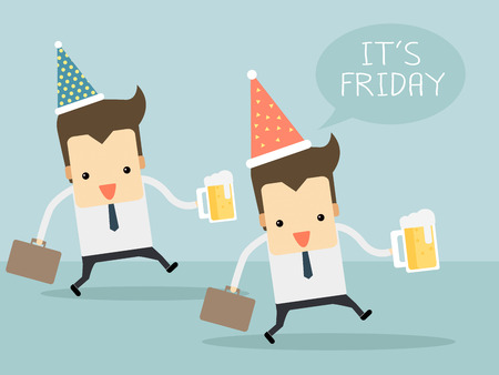 Happy workers in friday with beers Vector
