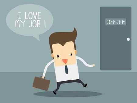 Businessman love his job Illustration