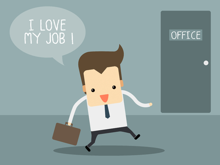 Businessman love his job Illustration
