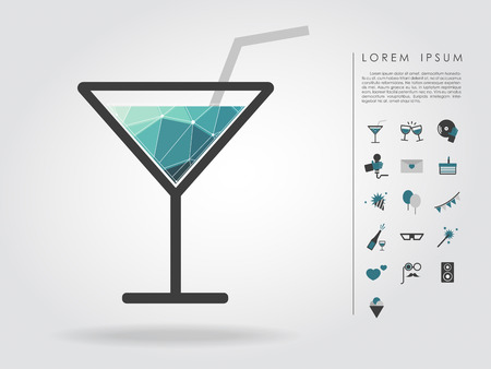 polygon cocktail glass with party icon Vector