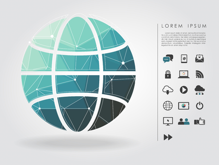 polygon global symbol with communication icon Illustration