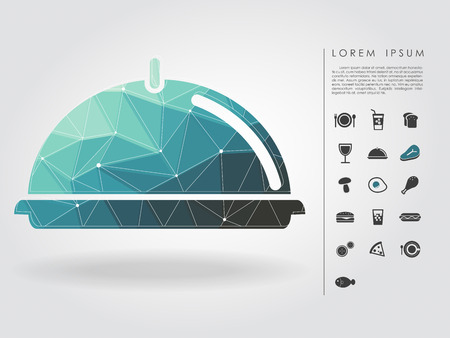 polygon holding tray with food icon Vector