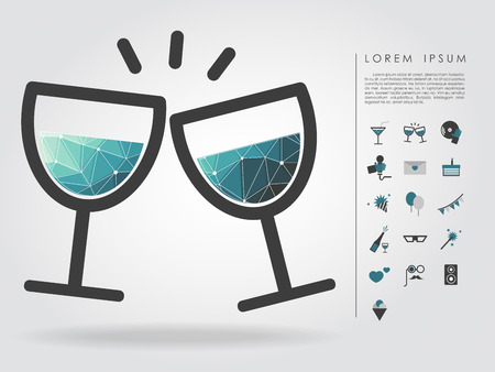 polygon wine glass with party icon Vector