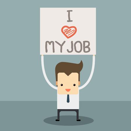 businessman love his job vector Banco de Imagens - 28304518