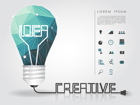 geometry idea light bulb with creative wire and business icon vector
