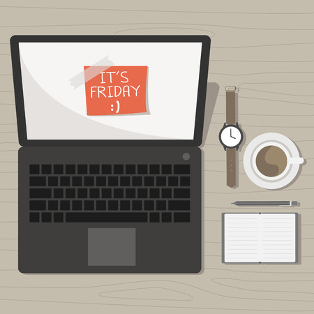 notebook with friday note and accessories on desk vector Illustration