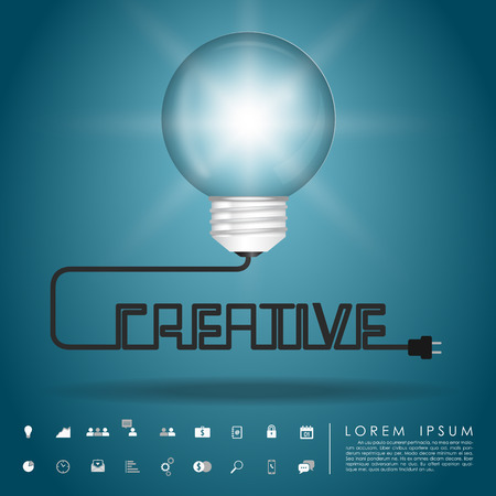 balloon idea lightbulb and creative wire with business icon vector Vector