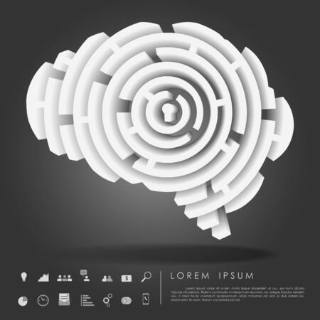 brain maze 3d with business icon vector Banco de Imagens - 28304532