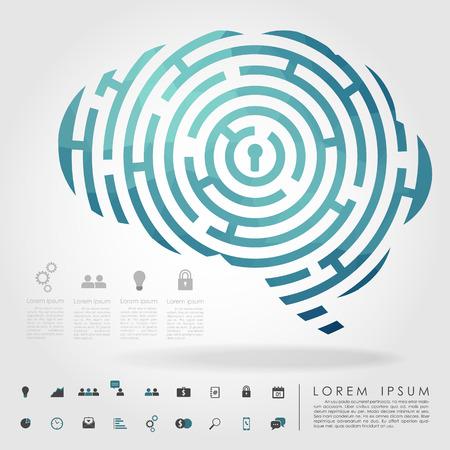 laberinto: geometría laberinto del cerebro con el icono de los negocios vector