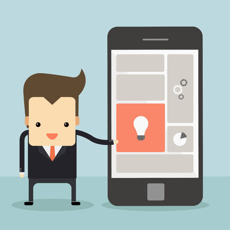 businessman point to smartphone vector
