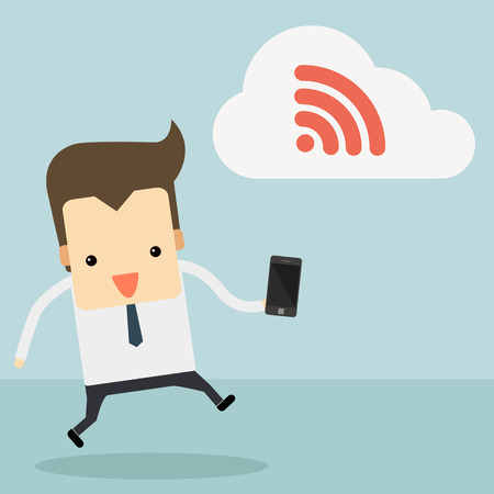 man on cell phone: businessman with smartphone and wifi cloud vector Illustration
