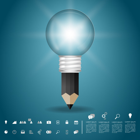 pencil idea lightbulb with business icon vector Vector