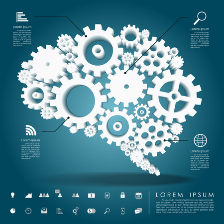 brain gear 3d with business icon vector Banco de Imagens - 28304562
