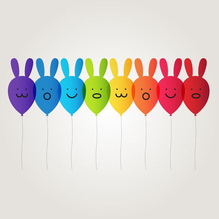 rainbow rabbit balloon vector Vector