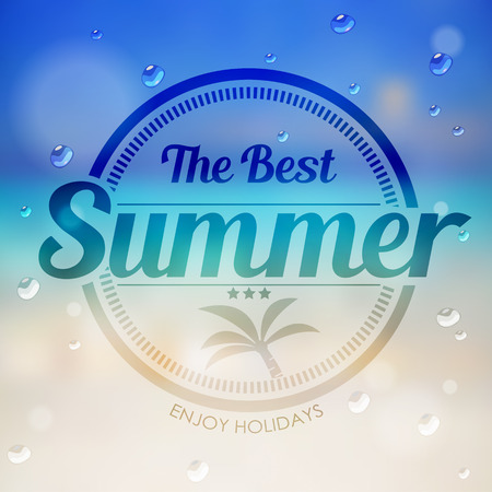 the best summer label with coconut tree on summer beach background vector Banco de Imagens - 28304573