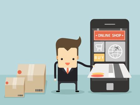 Businessman carta uso di credito per acquisto oggetto dal negozio on-line di vettore Archivio Fotografico - 29249582