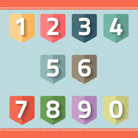 set of number on a flag vector Ilustracja