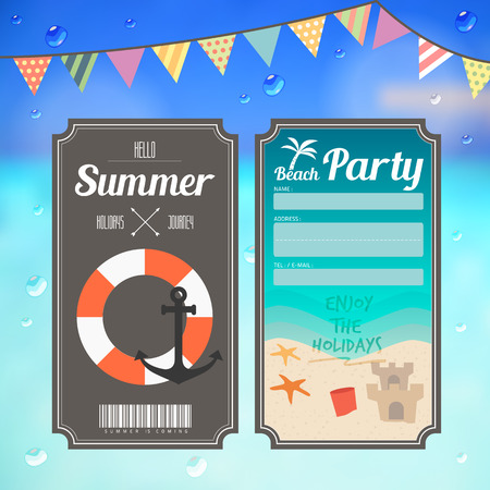 summer beach party ticket on sea background vector Vector