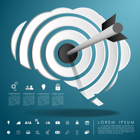 knowledge business: arrow on target brain with business icon vector Illustration