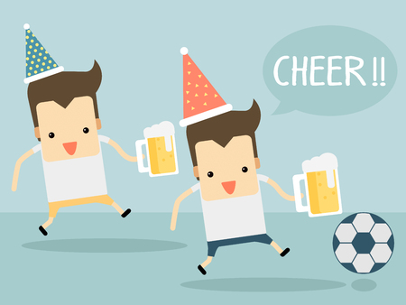 cheer football with beer vector Illustration
