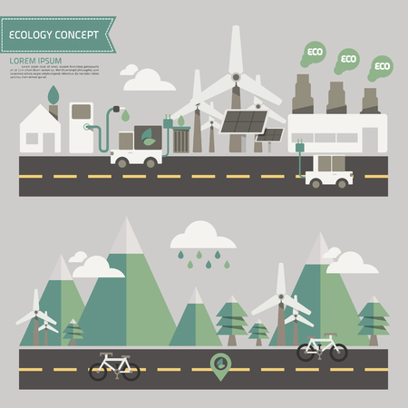 car factory: ecology environment concept vector