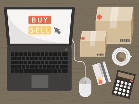 Notebook con elementi della spesa sul concetto di shopping online vettore Archivio Fotografico - 29255135