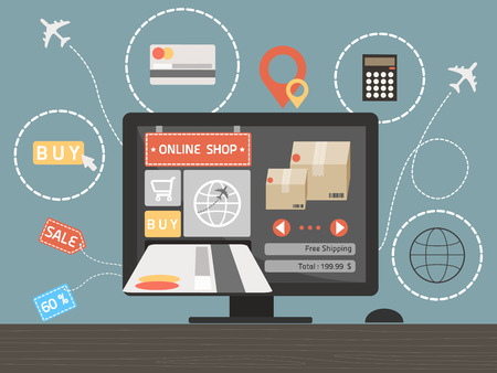 online shopping concept on computer desk vector Illustration