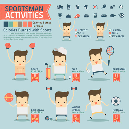 sex appeal: sportsman activities and calories burned infographics with food icon vector