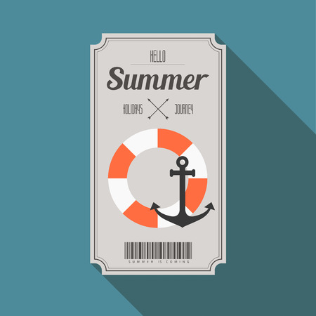 boarding card: summer beach party ticket with long shadow vector