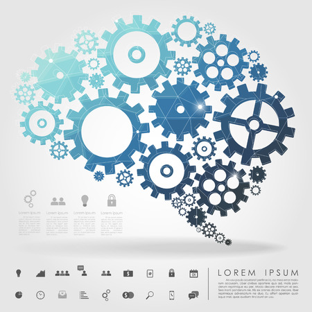 brain gear polygon with business icon