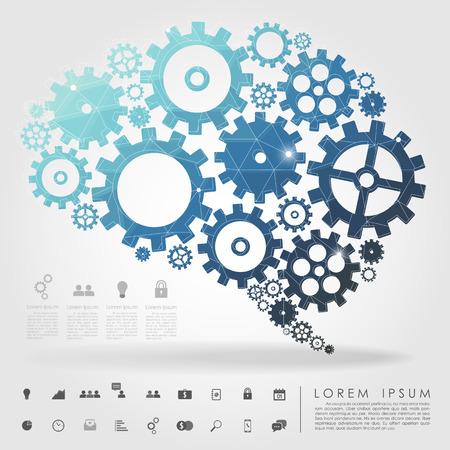 inteligencia: cerebro polígono de engranajes con el icono de negocio