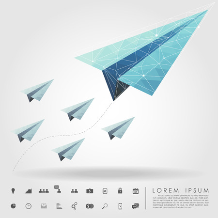 polygon paper plane on leader concept with business icon Ilustracja