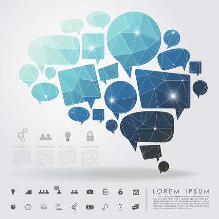 bubble brain geometry with business icon