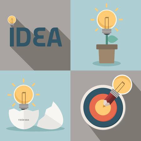 competitive advantage: fresh idea and creative light bulb concept Illustration