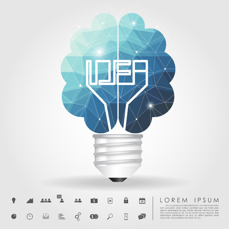 left and right brain light bulb polygon with business icon Banco de Imagens - 29609391