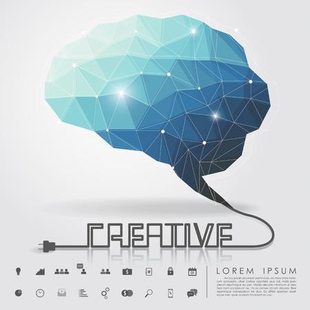 芸術的: 多角形の脳とビジネスのアイコンとクリエイティブなワイヤー