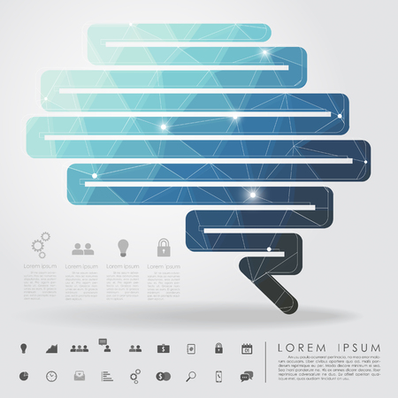 polygon zigzag line brain with business icon