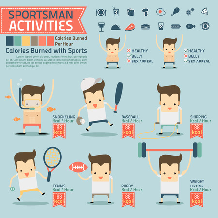 skipping: sportsman activities and calories burned infographics with food icon Illustration