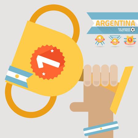 primer premio: el ganador del primer premio en la mano con la bandera de Argentina vector Vectores