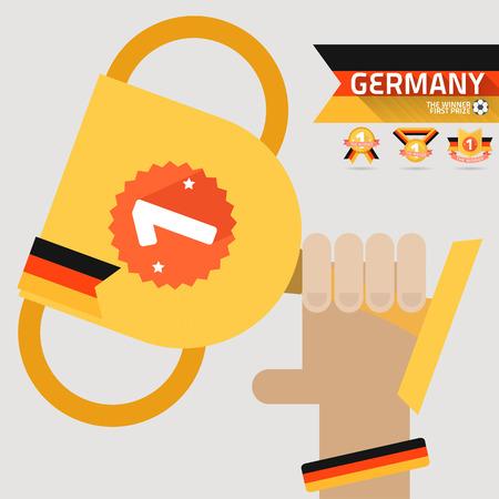 primer premio: el ganador del primer premio en la mano con el indicador de Alemania vector