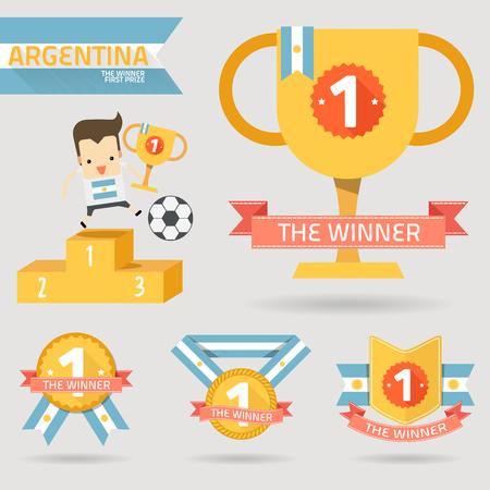 primer premio: el primer premio ganador con la bandera de Argentina vector