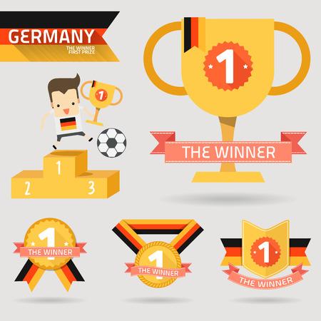 primer premio: el primer premio ganador con el indicador de Alemania vector Vectores