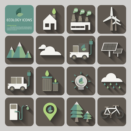 green building: ecology icons with long shadow on flat design concept