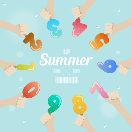 set of ice cream number with hand up on summer concept Vector