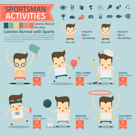 sportsman activities and calories burned infographics with food icon Illustration
