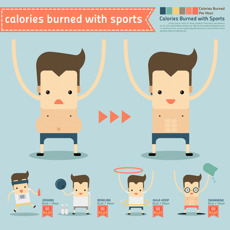 calories burned with sports infographics Illustration